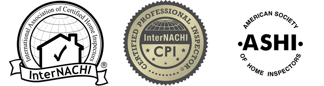 Certification Logos: International Association of Certified Home Inspectors (InterNACHI), Certified Professional Inspector (InterNACHI CPI), and American Society of Home Inspectors (ASHI)
