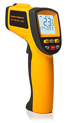 A thermal laser temperature reader used for home inspections